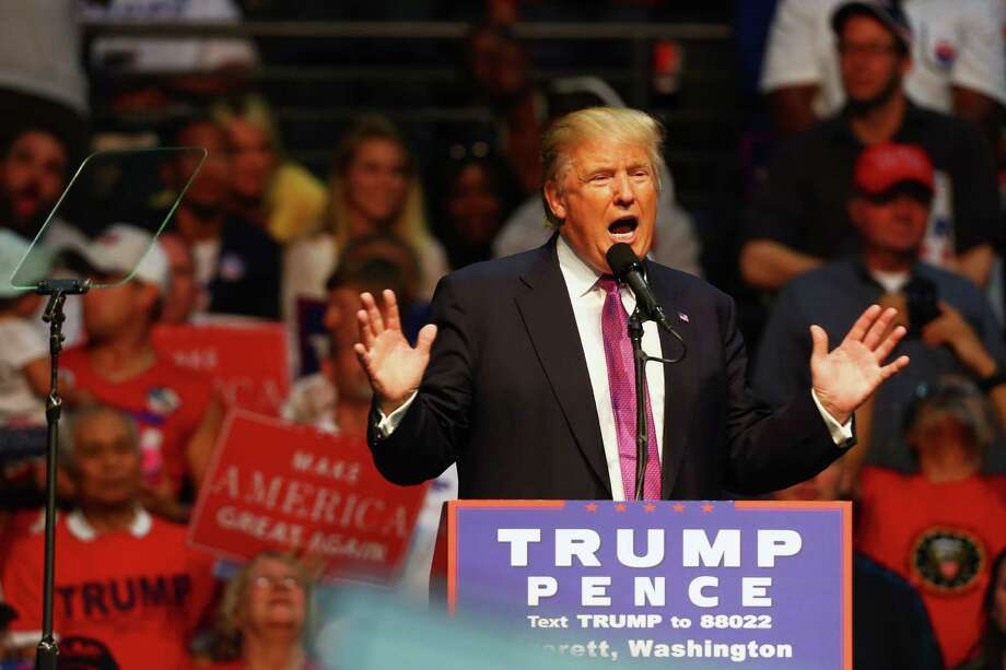 He can't spell but he is our 45th President:  Donald Trump speaks during a rally, Tuesday, Aug. 30, 2016 at Xfinity Arena in Everett. Photo: GENNA MARTIN, SEATTLEPI.COM / SEATTLEPI.COM
