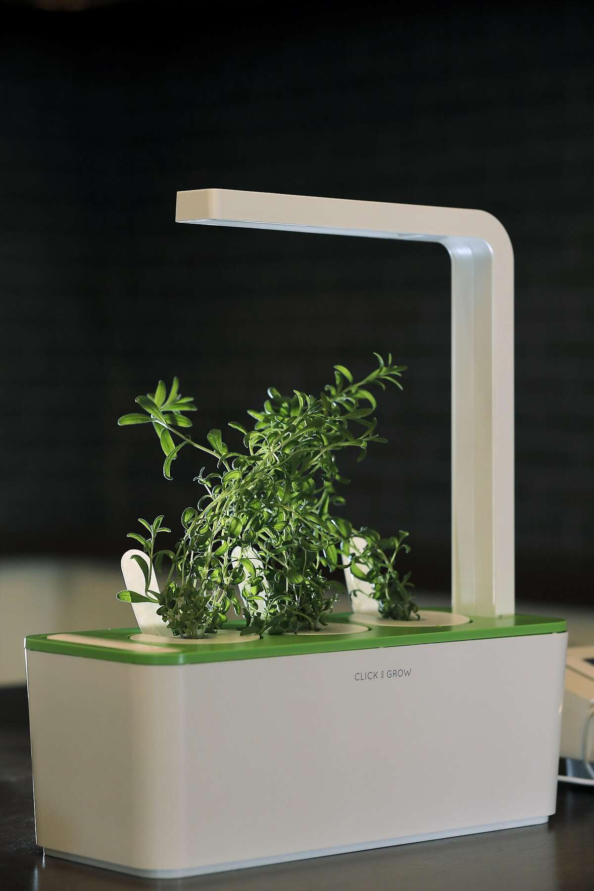 The Click & Grow Smart Herb Garden is one of several smart kitchen appliances on display at b8ta in Palo Alto, Calif., on Tuesday, August 30, 2016.
