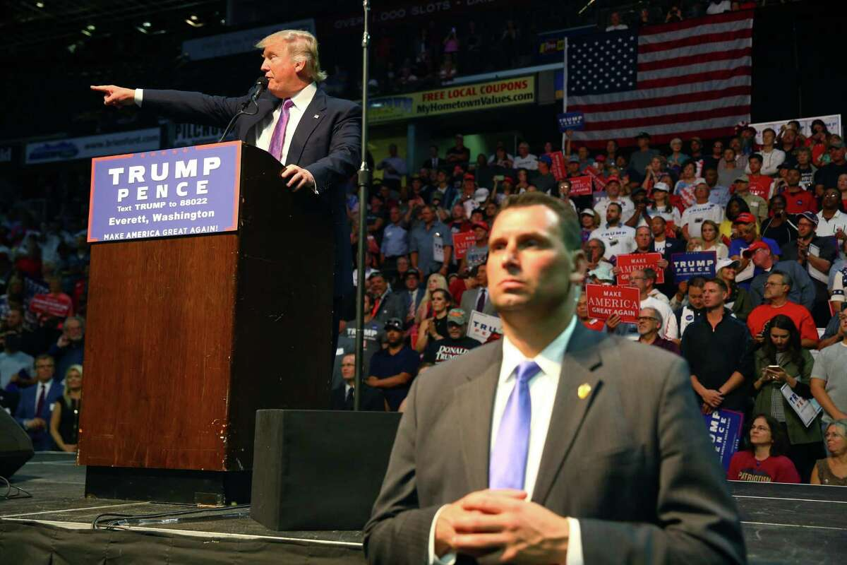 Republican Presidential candidate Donald Trump speaks during a rally, Tuesday, Aug. 30, 2016 at Xfinity Arena in Everett. Trump hasn't been back since. Opposition to his presidency centers on the West Coast.