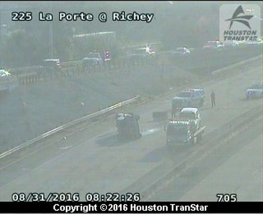 Portions of the La Porte Freeway near Richey were shutdown about 8 a.m. Wednesday, Aug. 31, 2016, after a rollover crash. (Houston TranStar)