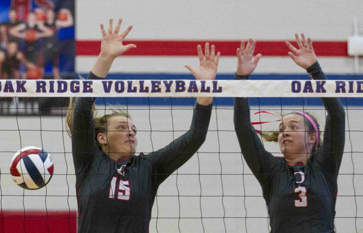 Aug. 30: Oak Ridge 3, Tomball 0 Oak Ridge blockers Hailey Lohnes (15), left, Shae Green (3) miss a block by Tomball right side hitter Victoria Putnam (21) during the first set of a non-district high school volleyball match Tuesday, Aug. 30, 2016, at Oak Ridge High School. Oak Ridge swept Tomball 3-0.