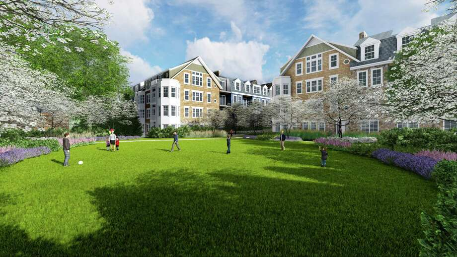 Architectural rendering of the courtyard as it would look in the redeveloped Merritt Apartments. Photo: Contributed / Hearst Connecticut Media / New Canaan News