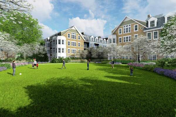 Architectural rendering of the courtyard as it would look in the redeveloped Merritt Apartments.