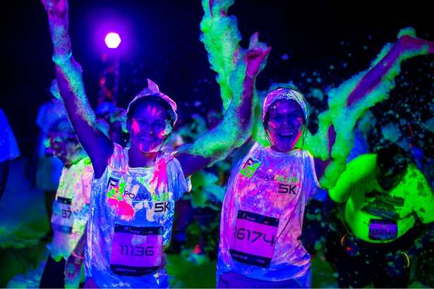 Take part in some good, clean and glowingly colorful fun Saturday evening during the Foam Glow 5K at Sam Houston Race Park. The more white clothing you wear, the more you'll glow in the dark.