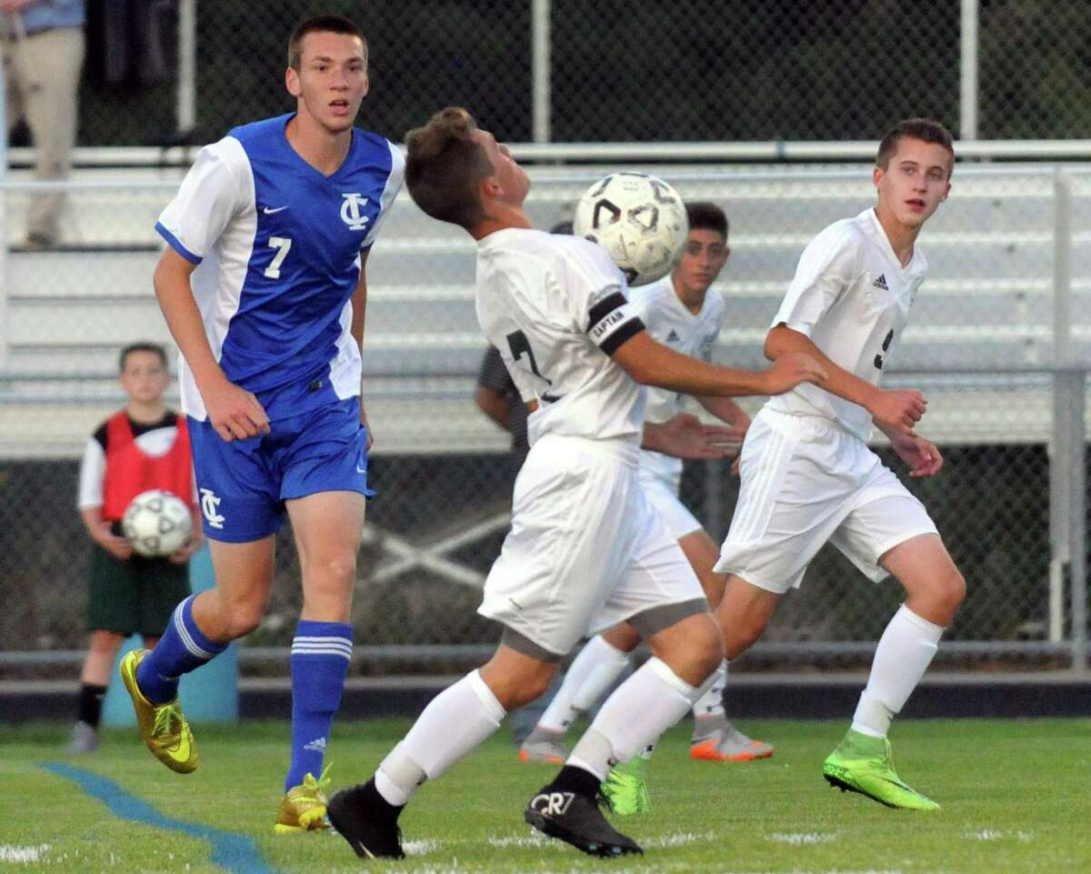 Schalmont's RJ Hayden advances the ball during their boy's high school soccer game against Ichabod Crane on Tuesday Sept. 22, 2015 in Schenectady, N.Y. (Michael P. Farrell/Times Union)