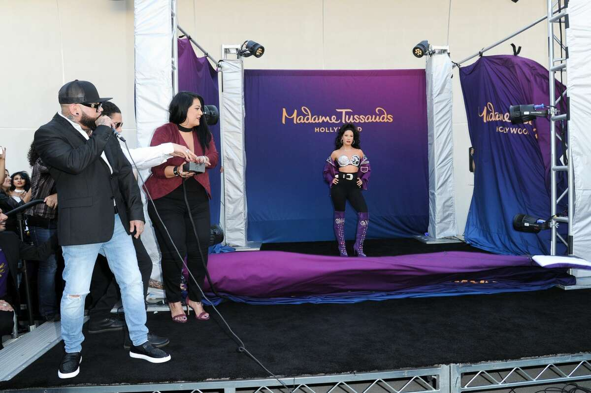 A.B. Quintanilla, from left, Chris Perez and Suzette Quintanilla attend the unveiling of a wax figure of Selena Quintanilla at Madame Tussauds Hollywood on Tuesday, Aug. 30, 2016, in Los Angeles. (Photo by Richard Shotwell/Invision/AP)