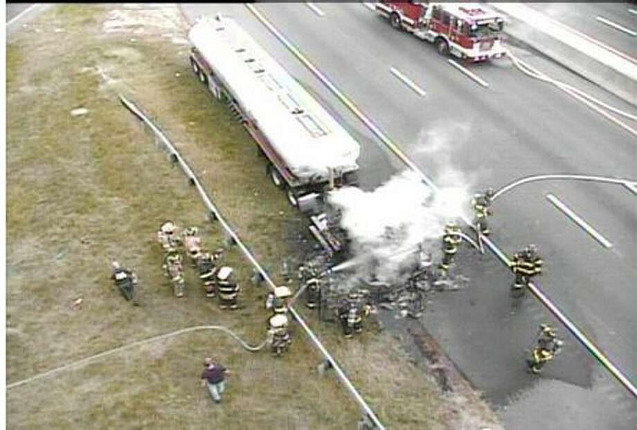 A tanker truck's cab burned on the southbound side of I-95 Wednesday afternoon. Photo: Connecticut Department Of Transportation / Contributed