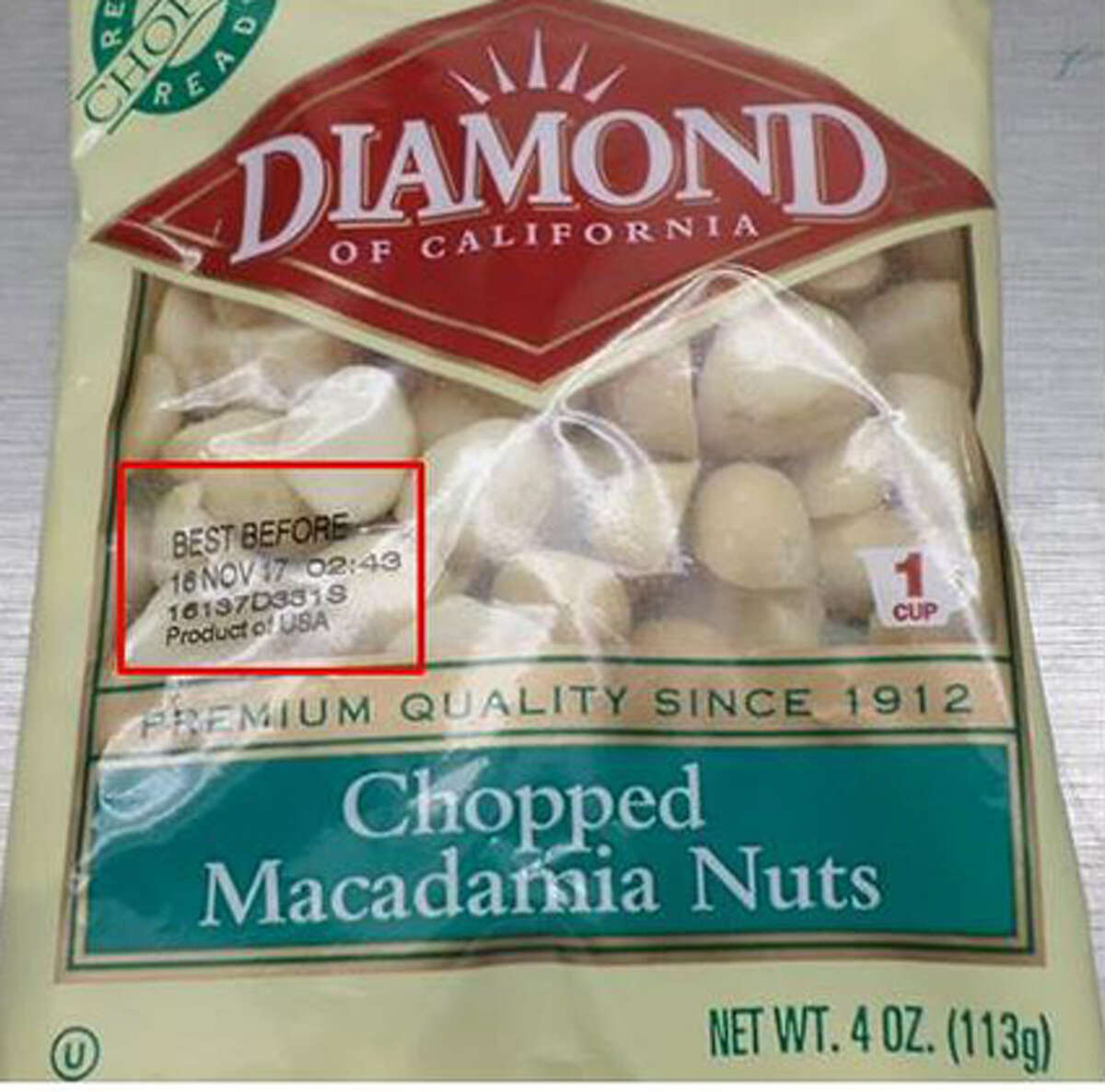 Snyder's-Lance, Inc. is initiating a voluntary recall of Diamond of California Macadamia Nuts, distributed in retail stores nationwide, due to possible Salmonella contamination. Photo courtesy of the Food and Drug Administration.
