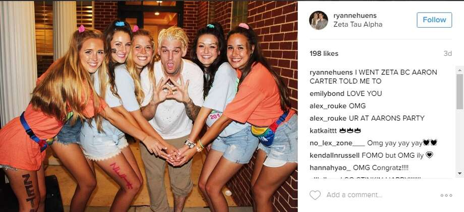 "@ryannehuens: ""I WENT ZETA BC AARON CARTER TOLD ME TO"" Photo: Courtesy/Instagram"