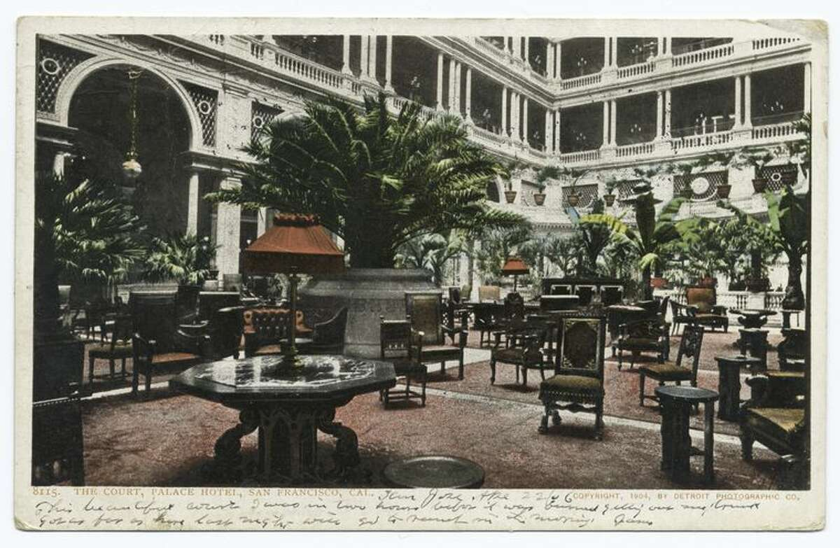 A postcard from the Detroit Publishing Company shows the luxurious interior lobby of the Palace Hotel in San Francisco.