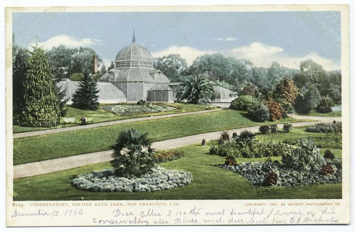 A 1906 postcard from the Detroit Publishing Company shows the Conservatory of Flowers in Golden Gate Park.