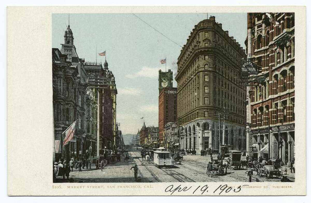 A postcard from the Detroit Publishing Company shows Market Street in San Francisco before the 1906 earthquake and fire.
