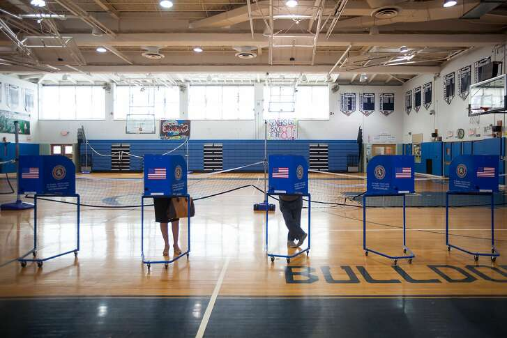 FILE-- Voters at a polling site in Hewlett, N.Y., April 19, 2016. Snapchat, the social network of choice for many younger voters filing an amicus brief in New Hampshire arguing against a ban to take photos in a polling booth. It called ballot selfies Òthe latest way that voters, especially young voters, engage with the political process.Ó (Michael Nagle/The New York Times)