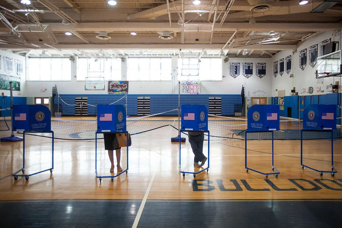 Voters at a polling site in Hewlett, N.Y., in April.