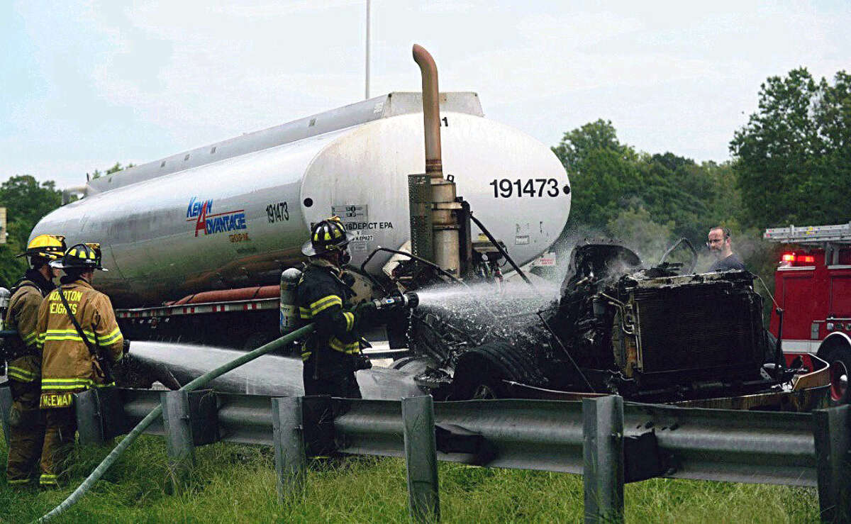 The cab of a taker truck burned Wednesday afternoon on I-95 southbound in Norwalk.