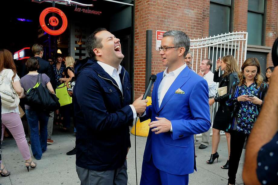 TV personality Ross Mathews (left) talks with Target's Jeff Jones in 2012. Photo: Brad Barket, Getty Images For Laforce & Stevens