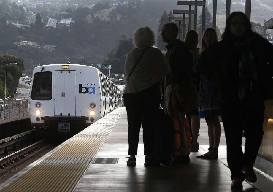 A train heading for San Francisco arrives at the Rockridge BART station in Oakland on Aug. 30. The transit agency reported major delays Saturday morning due to an equipment problem at the 16th Street Mission station in San Francisco. Photo: Paul Chinn, The Chronicle