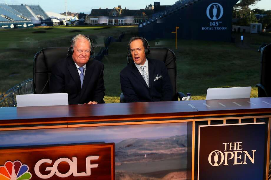 Johnny Miller (left, with fellow commentator Dan Hicks at the British Open in July) is hosting the Safeway Open at Silverado Resort in Napa. Photo: Andrew Redington, Getty Images