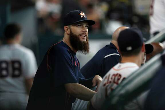 Houston Astros pitcher Dallas Keuchel in the dugout during the sixth inning of an MLB game at Minute Maid Park, Wednesday, Aug. 31, 2016 in Houston.