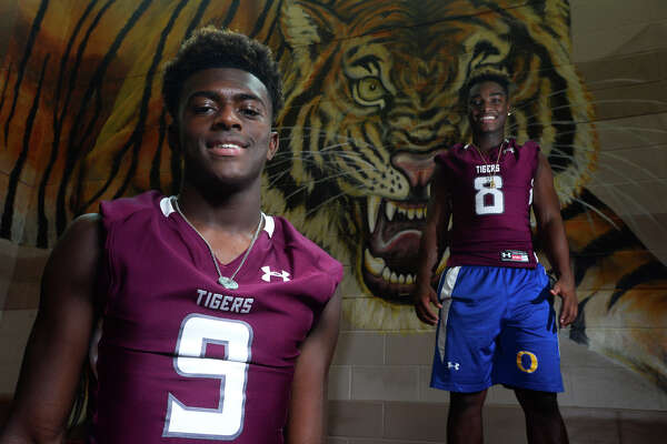 Quarterback Willie Jones III, left, and running back Calvin Tyler Jr. have transferred to Silsbee High School, where they will play football and basketball.  Photo taken Friday 7/29/16 Ryan Pelham/The Enterprise