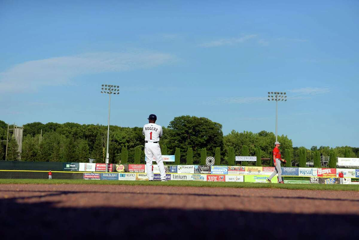 Tri-City ValleyCats manager Lamarr Rogers stands near third base as his team bats during their game against Lowell on Sunday, Aug. 28, 2016, in Troy, N.Y. (Paul Buckowski / Times Union)