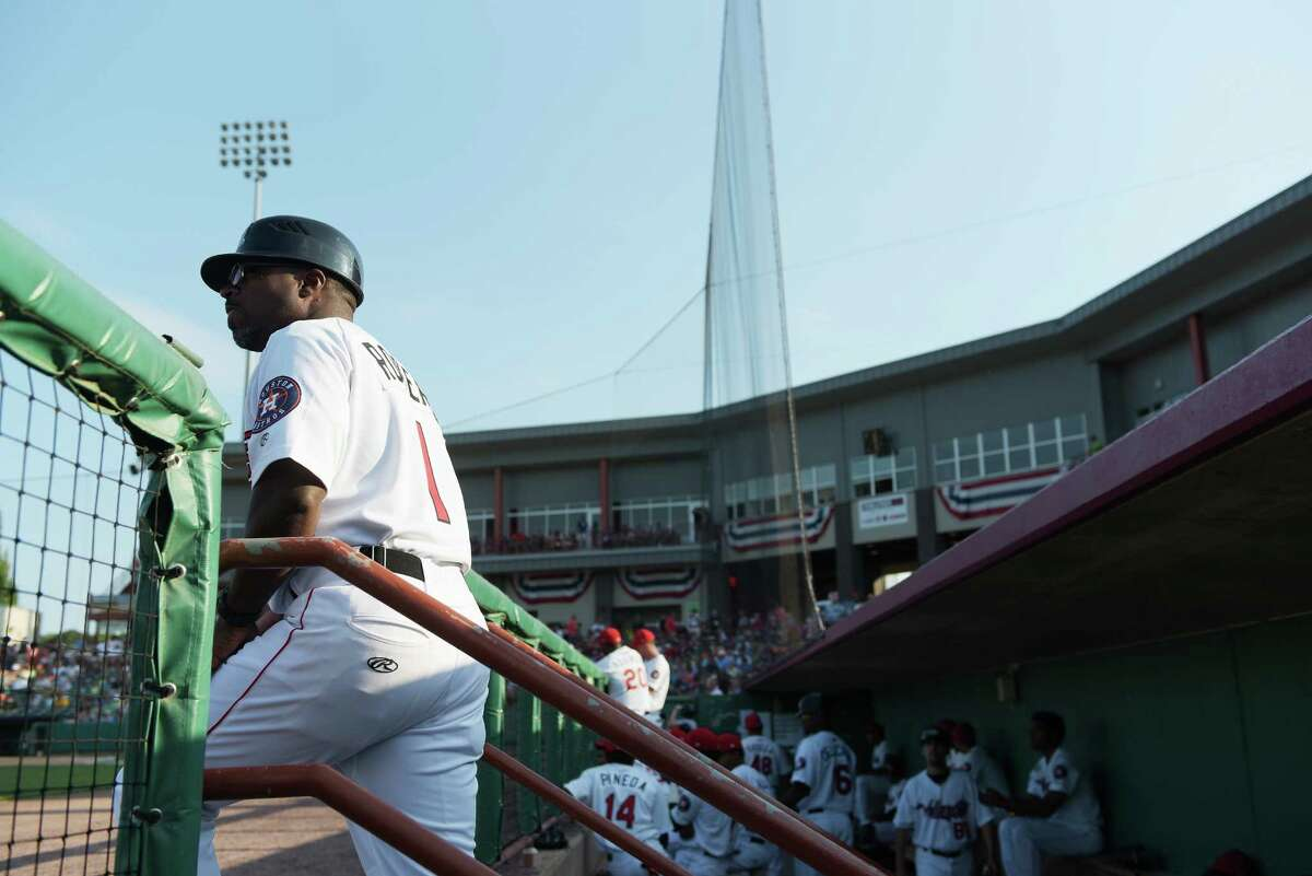 Tri-City ValleyCats manager Lamarr Rogers makes his way out onto the field to be on the third base line as his team comes up to bat during their game against Lowell on Sunday, Aug. 28, 2016, in Troy, N.Y. (Paul Buckowski / Times Union)