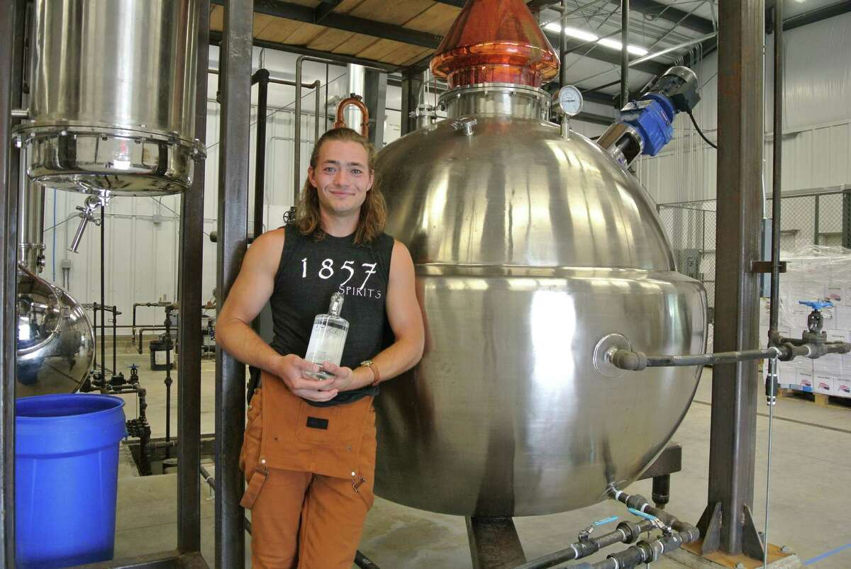 """""""The idea started years ago with my mom and dad looking at all the potatoes we have that aren't pretty enough to sell at a road stand,"""" says Elias Barber, co-owner of 1857 Spirits. The distillery is an extension of Barber's Farm, which was founded in Middleburgh in 1857 as a dairy, but is now cherished for its prized potatoes. (Deanna Fox)"""