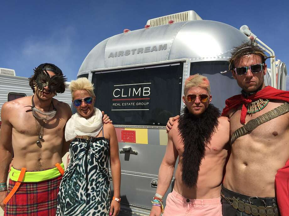 Climb Real Estate's Airstream, used to court Millennial buyers, makes a visit to Burning Man. Photo: Climb Real Estate