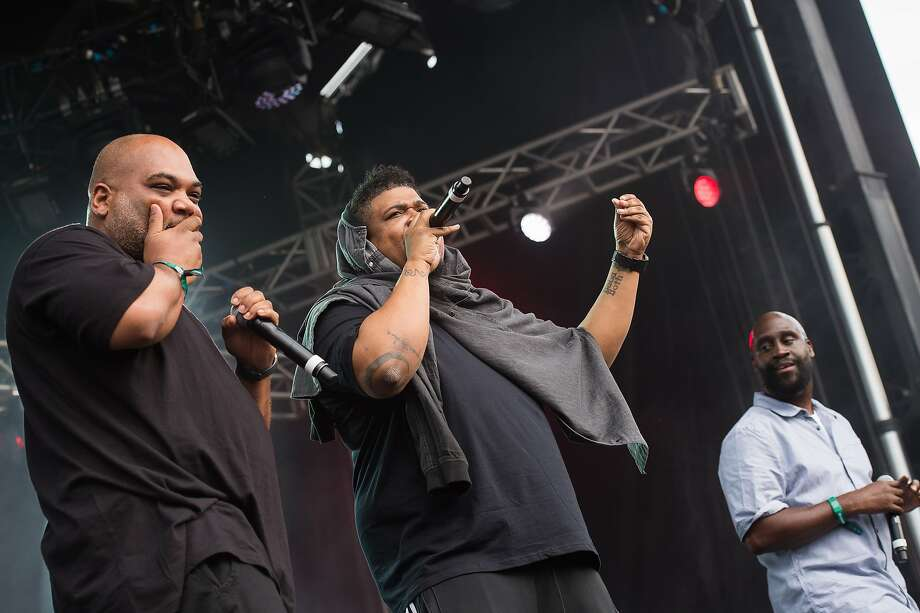 "File-This June 4, 2016, file photo shows Vincent Mason, left, David Jude Jolicoeur and Kelvin Mercer from the band De La Soul performing on day two of the Governors Ball Music Festival  in New York.  Twenty-five years after releasing the mercurial classic ""De La Soul is Dead,"" the Strong Island trio of Pos, Dave and Maseo return with "".and the Anonymous Nobody"" - a modern treatise of anti-establishment hip-hop. Photo: Charles Sykes, Associated Press"