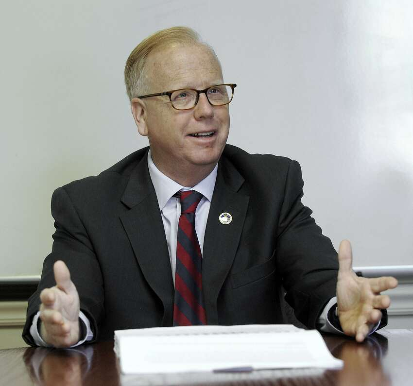 Danbury Mayor Mark Boughton discusses the proposed budget for the city with The News-Times editorial board, Tuesday, april 5, 2016.