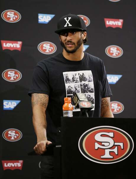 San Francisco 49ers quarterback Colin Kaepernick speaks with reporters following an NFL preseason football game against the Green Bay Packers Friday, Aug. 26, 2016, in Santa Clara, Calif. Green Bay won the game 21-10. (AP Photo/Ben Margot) Photo: Ben Margot, Associated Press