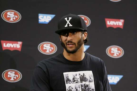 San Francisco 49ers quarterback Colin Kaepernick speaks with reporters following an NFL preseason football game against the Green Bay Packers Friday, Aug. 26, 2016, in Santa Clara, Calif. Green Bay won the game 21-10. (AP Photo/Ben Margot)