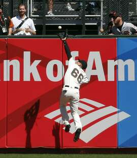San Francisco Giants' Gorkys Hernandez catches a deep drive off the bat of Arizona Diamondbacks' Paul Goldschmidt in 6th inning during MLB game at AT&T Park in San Francisco, Calif., on Wednesday, August 31, 2016.