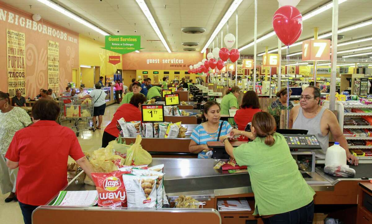 The checkout area at the grand re-opening of the Fiesta on Wayside Drive. Fiesta has invested in the store, redesigning and updating its appearance and layout, the first of several planned upgrades at the chain's stores. (For the Chronicle/Gary Fountain, August 31, 2016)