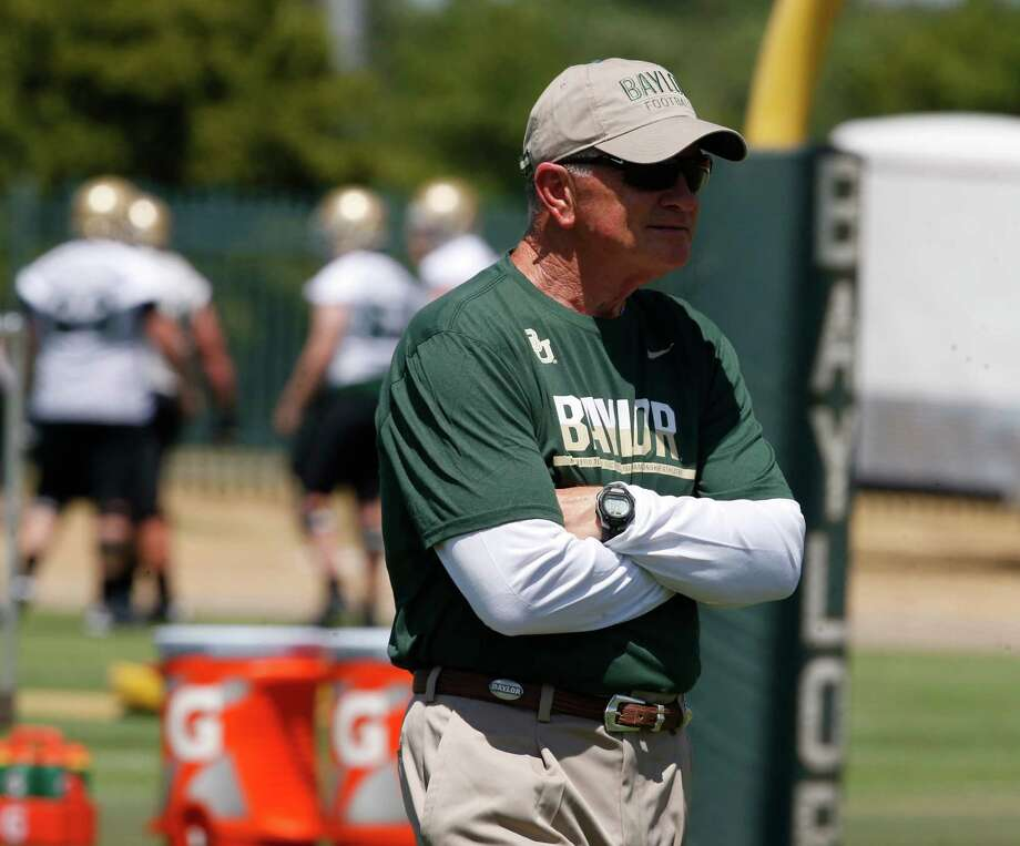 Baylor University acting head football coach Jim Grobe looks on during the first day of football practice, Thursday, Aug. 4, 2016, in Waco, Texas. (Rod Aydelotte /Waco Tribune-Herald via AP) MANDATORY CREDIT Photo: Associated Press / Waco Tribune-Herald