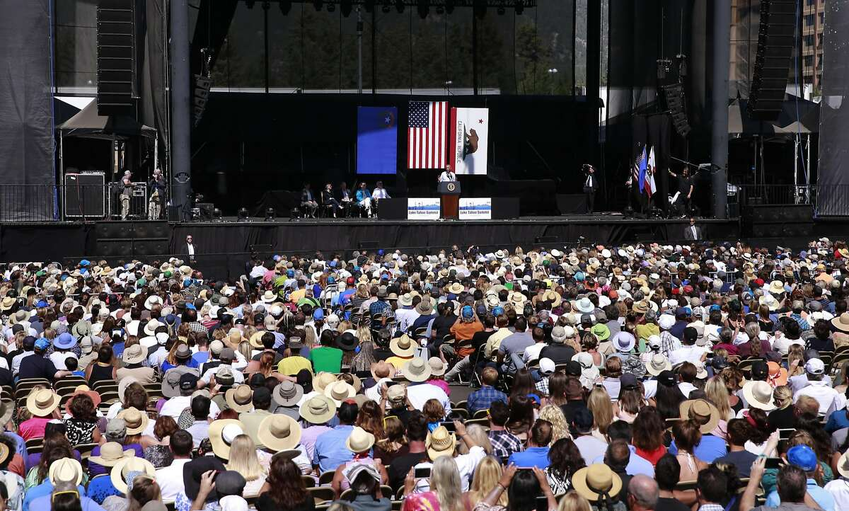 President Barack Obama addresses supporters during the 20th annual Lake Tahoe Summit at the Harvey's Lake Tahoe Hotel and Casino Outdoor Arena in Lake Tahoe, Nevada on Tuesday Aug. 30, 2016.