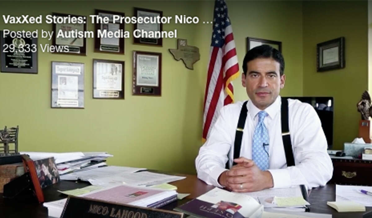 Screen grab of Bexar County District Attorney Nico LaHood when he made a statement on vaccinations alleging that vaccinations cause autism.