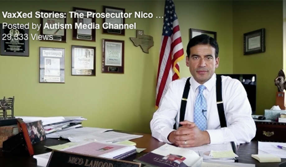 "VaccinesAugust 2016: LaHood holds an invitation-only screening at a local movie theater of ""Vaxxed: From Cover-Up to Catastrophe,"" a documentary that links childhood vaccines to autism. A video clip shows LaHood sitting at his desk in his county office and saying, ""I'm Nico LaHood. I'm the criminal district attorney in San Antonio, Texas. I'm here to tell you that vaccines can and do cause autism."""