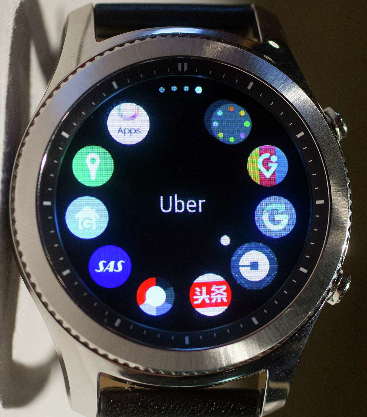 In this Aug. 25, 2016, photo, taken in New York, the Samsung S3 classic version is displayed with some of the many apps that are available for the smartwatch. Samsung?'s next smartwatch will come with GPS capabilities and the ability to call for help by triple-tapping a side button. (AP Photo/Mark Lennihan) ORG XMIT: NYML302