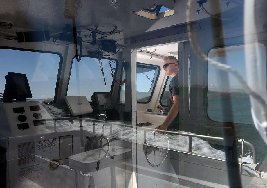 "Christian Cavanaugh sails his boat ""Chasin' Crustacean"" from Fort Baker to Sausalito for maintenance and fuel in the San Francisco Bay on August 31, 2016. Cavanaugh bought a boat and started running salmon fishing charter trips to make up for lost income due to algal blooms last season. Photo: Josh Edelson, JOSH EDELSON / SAN FRANCISCO CHRONICLE"