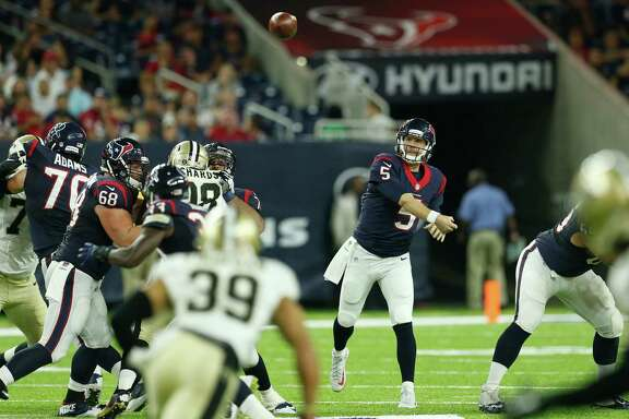 Houston Texans quarterback Brandon Weeden (5) throws a pass against the New Orleans Saints during the fourth quarter of an NFL pre-season football game at NRG Stadium on Saturday, Aug. 20, 2016, in Houston. ( Brett Coomer / Houston Chronicle )