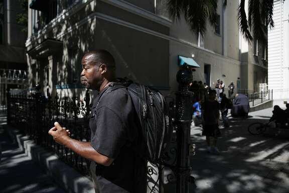 Anthony King, organizing fellow Sacred Heart Community Service, who is formerly homeless, passes by St. Joseph Cathedral Office of Social Ministry  on Tuesday, August 30,  2016 in San Jose, California.
