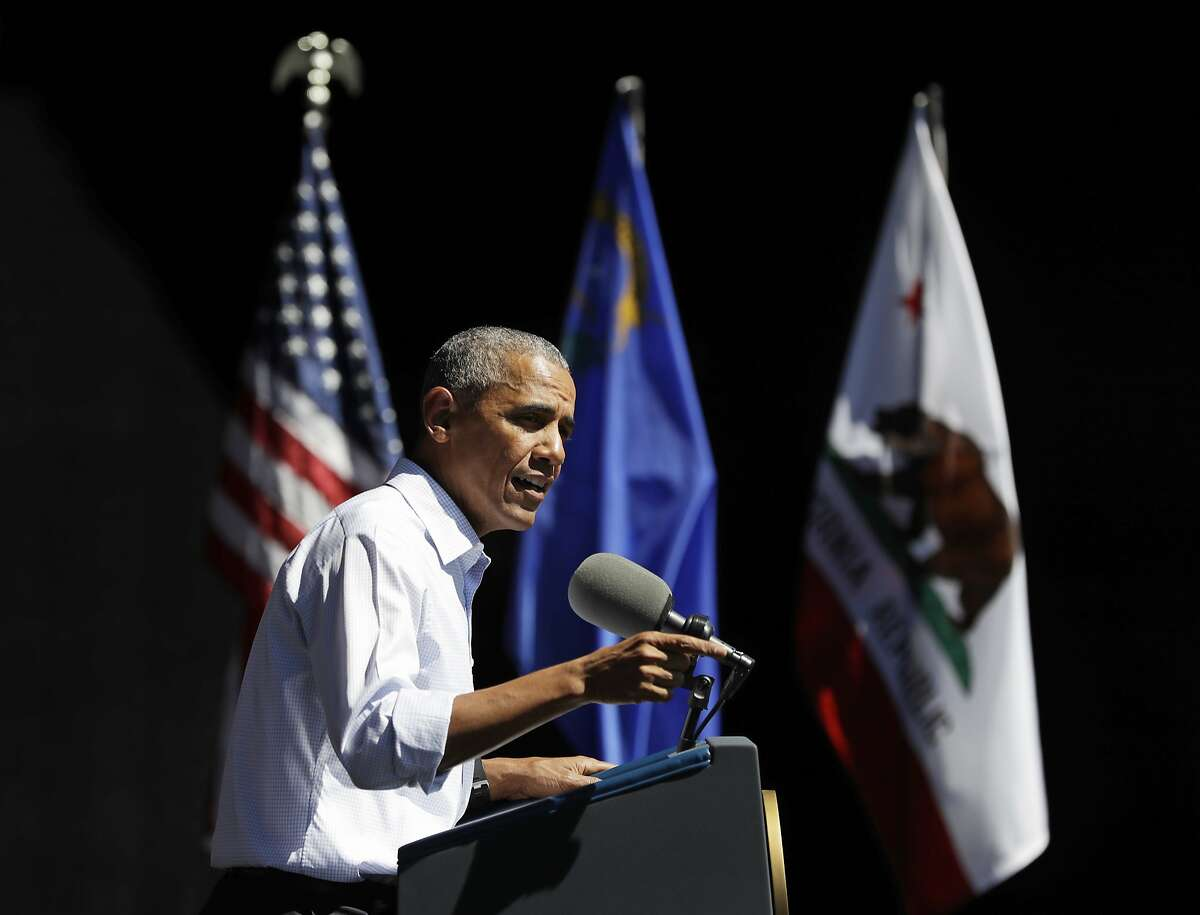 President Barack Obama speaks during the 20th annual Lake Tahoe Summit at the Lake Tahoe Outdoor Arena at Harveys, in Stateline, Nev., Wednesday, Aug. 31, 2016, about the environment and climate change. (AP Photo/Carolyn Kaster)
