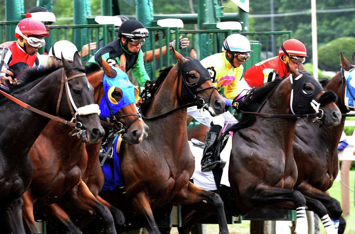 Horses charge from the gate in the fourth race of the day at the Saratoga Race Course Wednesday August 31, 2016 at in Saratoga Springs, N.Y. (Skip Dickstein/Times Union)
