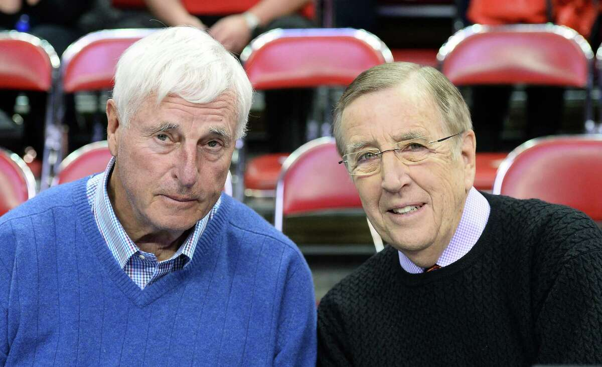 LAS VEGAS, NV - FEBRUARY 19: Basketball analyst Bobby Knight (L) and sportscaster Brent Musburger appear before a game between the New Mexico Lobos and the UNLV Rebels at the Thomas & Mack Center on February 19, 2014 in Las Vegas, Nevada. New Mexico won 68-56. (Photo by Ethan Miller/Getty Images) ORG XMIT: 187362389