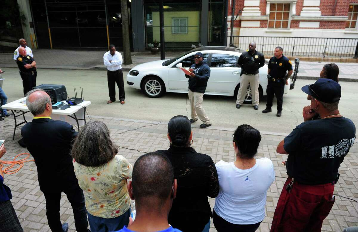 Bridgeport Police Department, in conjunction with agencies such as Project Longevity and others, held a police stop demonstration session for members of the public on Bank Street in Bridgeport, Conn., on Thursday Mar. 31, 2016. Several different stop scenarios were played out to show people how to interact with police during stops.