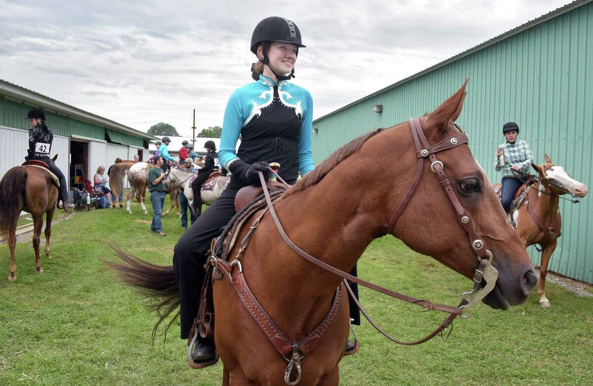 Abigail Reeves, 13, of Stillwater, and her horse Tommy wait their turn at the Horsemanship competition at the Schaghticoke Fair Wednesday Aug. 31, 2016 in Schaghticoke, NY. (John Carl D'Annibale / Times Union)