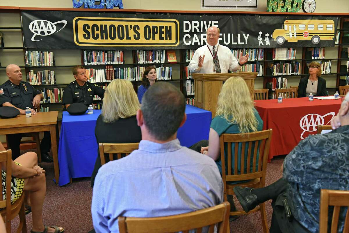 Jonathan Buhner, South Colonie Superintendent of Schools, speaks during a press conference to help AAA spread the word about keeping children safe while walking, biking and busing to school at Colonie Central High School on Wednesday, Aug. 31, 2016 in Colonie, N.Y. (Lori Van Buren / Times Union)