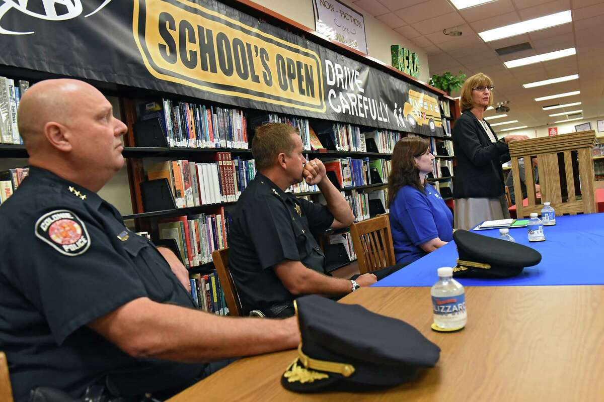 Terri Egan, Executive Deputy Commissioner of the New York State Department of Motor Vehicles, speaks during a press conference to help AAA spread the word about keeping children safe while walking, biking and busing to school at Colonie Central High School on Wednesday, Aug. 31, 2016 in Colonie, N.Y. (Lori Van Buren / Times Union)