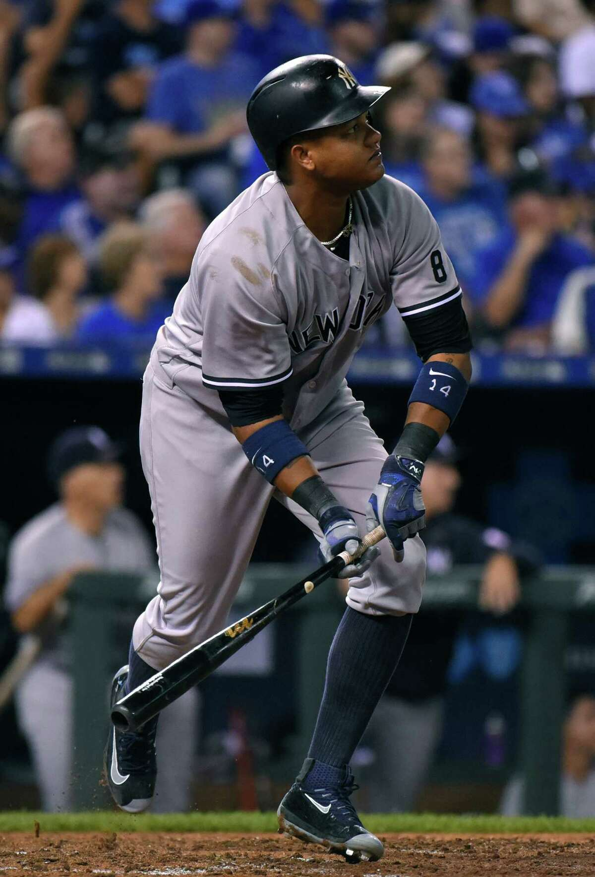 KANSAS CITY, MO - AUGUST 31: Starlin Castro #14 of the New York Yankees hits a two-run home run in the sixth inning against the Kansas City Royals at Kauffman Stadium on August 31, 2016 in Kansas City, Missouri. (Photo by Ed Zurga/Getty Images) ORG XMIT: 607684387